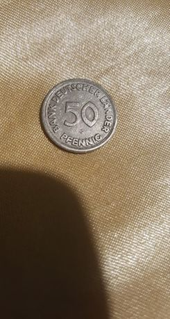 Moneta 50 Pfennig Niemcy RFN 1949 r.Stuttgart