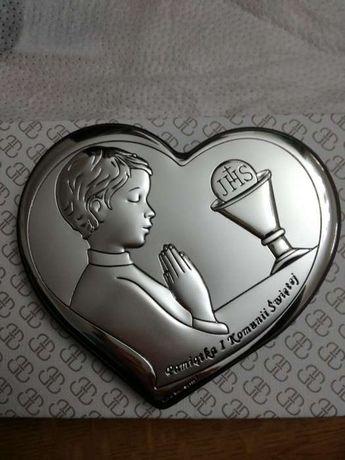 Srebrny obrazek pr999 Pamiątka Komuni Świętej