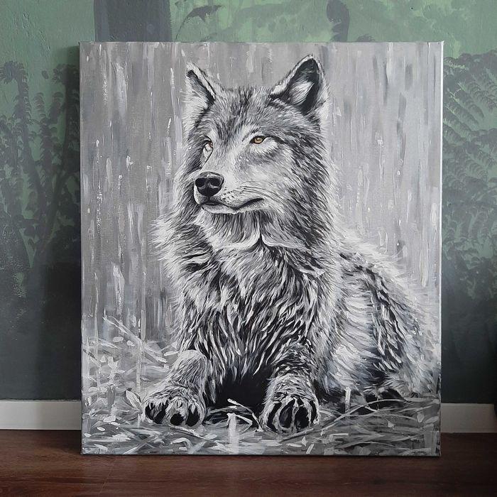Duży obraz Wilk, akryl na płótnie Siedlce - image 1