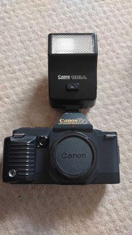 CANON T70, 3 obiektywy, lampa błyskowa, torba