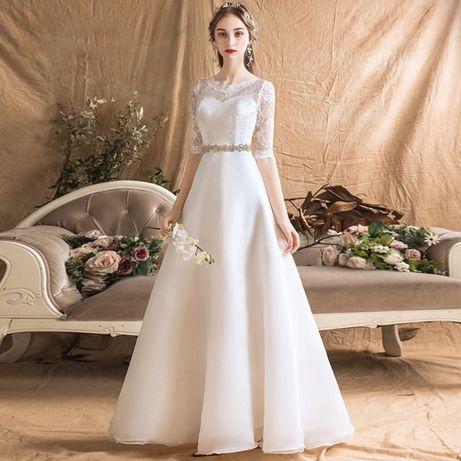 suknia ślubna cywilny koronka rękawek 34 XS, 36 S, 38 M, 40 L