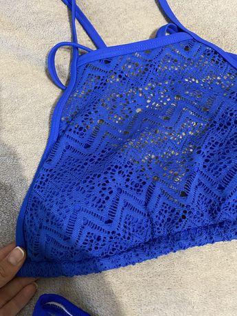Женский синий купальный топ