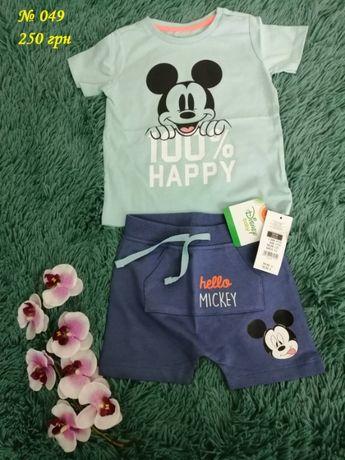 Модный летний костюм шорты + футболка с принтом Микки Маус
