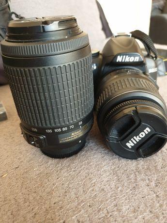 Lustrzanka Nikon D3000 Ob.18-55 II + ob. 55-200 mm VR Torba gratis!