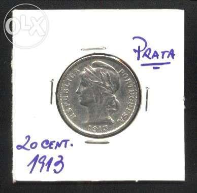 Espadim - Moeda de 20 Centavos de 1913 - Mbc+
