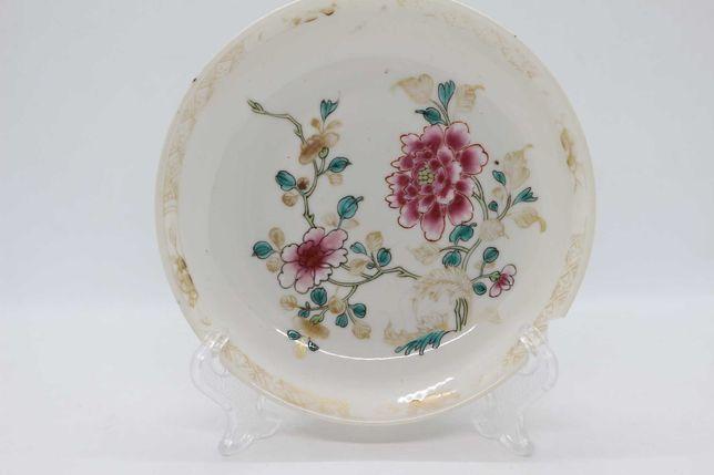 Prato Porcelana Chinesa Família Rosa floral XIX 14 cm
