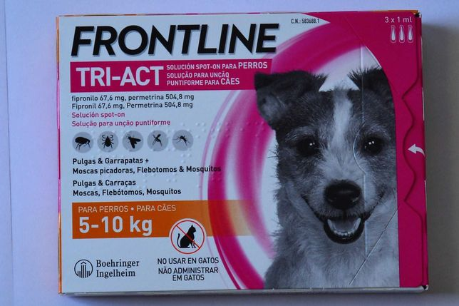 Caixa de 3 pipetas Frontline para cães 5-10 kg