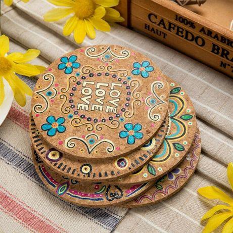 Conjunto 4 Bases de Cortiça - Copos ou Panelas (Coasters Peace & Love)