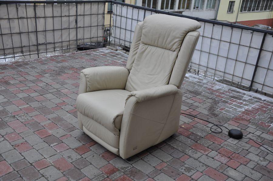 Кожаное электро-кресло, бежевого цвета! Идеал! Реклайнер! Б/У Харьков - изображение 1