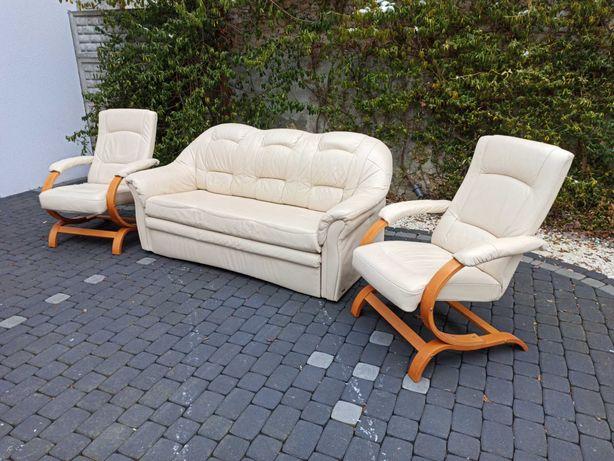 Komplet wypoczynkowy skóra naturalna, kanapa skórzana, fotele  skóra