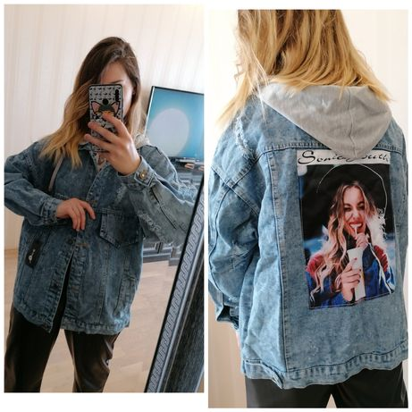 Джинсовая куртка с рисунком на спине оверсайз