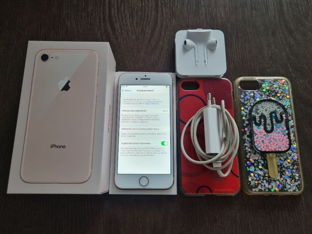 Apple Iphone 8 64 GB Rose Gold Złoto Biały - Stan IDEALNY +GRATIS ETUI