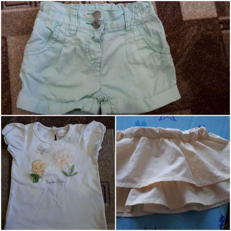 """Джинсовые шорты Next (6-9мес.),футболка юбка """"Garden Baby""""(рост 86)."""