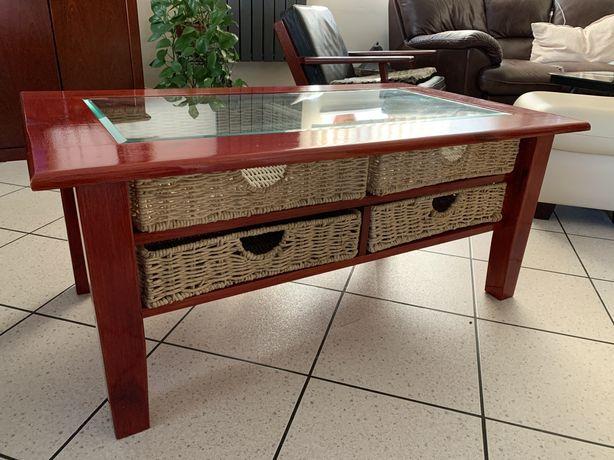 Stół kawowy stolik do salonu drewno drewniany szyba szkło szuflady