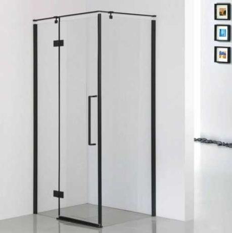 Kabina prysznicowa 80x100 cm lewa czarny/szkło przezroczyste