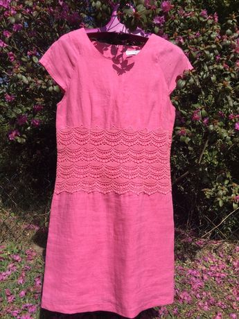 Różowa lniana sukienka r. 36 S