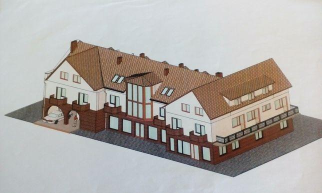 Dom  pensjonat sklep restauracja 700m +517m aktualny projekt