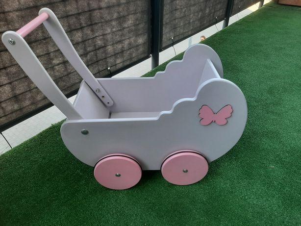 Wózek drewniany dla lalek pchacz zabawka dla dziecka