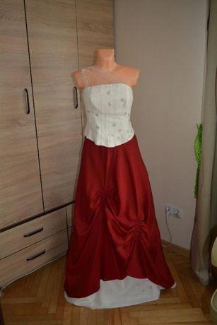 suknia ślubna r ok 40 - kolor wina - ecru szyta na miarę