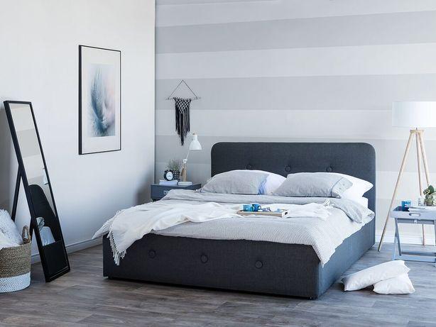 Cama de casal cinzenta escura com arrumação 160 x 200 cm RENNES - Beliani