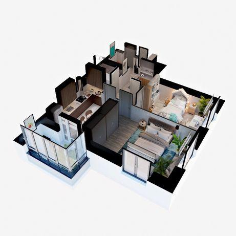 2-х комнатная квартира с Большой Кухней 15 м кв.