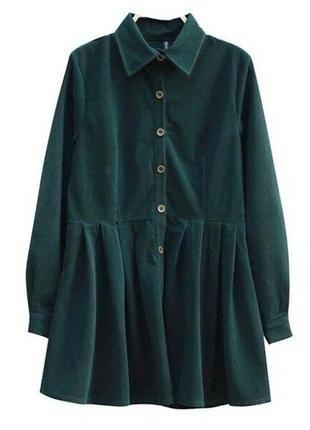 Сукня вельветова бархатна зелена комір гудзики пуговицы