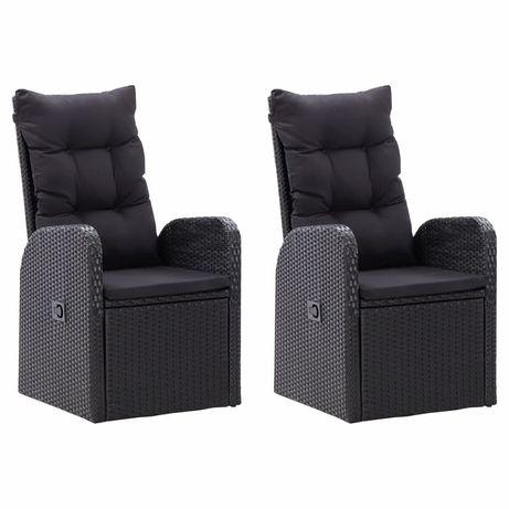 vidaXL Cadeiras de jardim reclináveis 2pcs c/ almofadões vime PE preto 46065