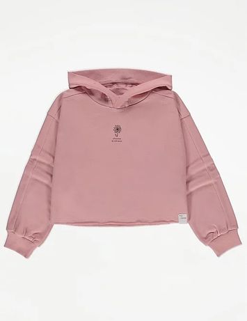 104 110 GEORGE różowa bluza dresowa krótka crop oversize Kindness