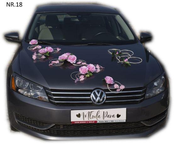 Dekoracja na samochód pudrowy róż + 2 serca.Bogaty zestaw w dobrej cen