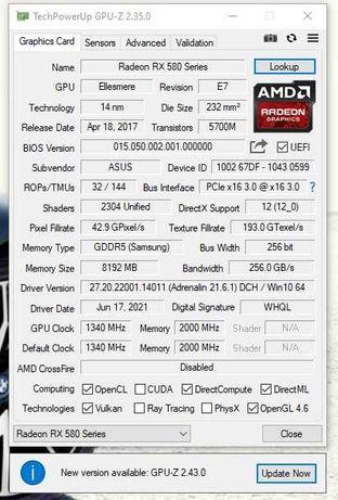 Видеокарта Asus AMD Radeon RX 580 Dual 8GB GDDR5