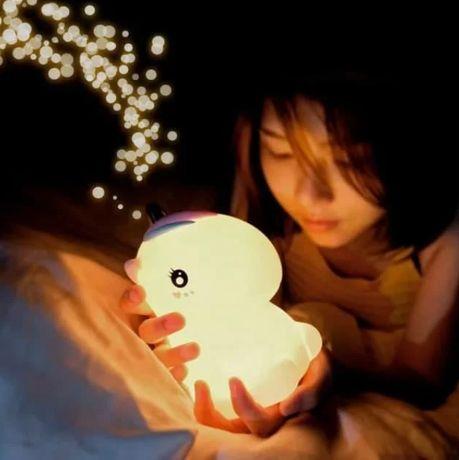 Ночник Единорожка детский сенсорный Силиконовый Светильник игрушка