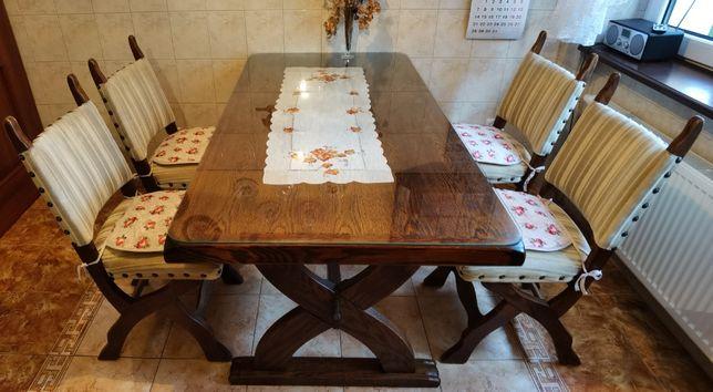 Solidny stół dębowy i 4 wyściełane krzesła + szyba gratis, okazja !!!