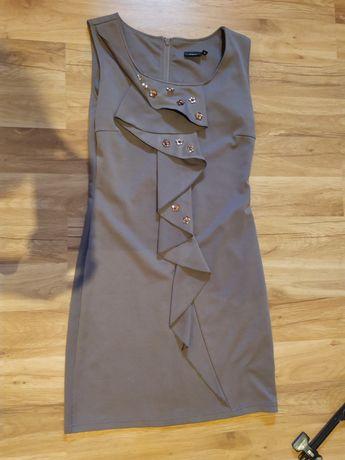 Suknia fransa M wizytowa elegancka pokazuje talie tuszuje brzuszek