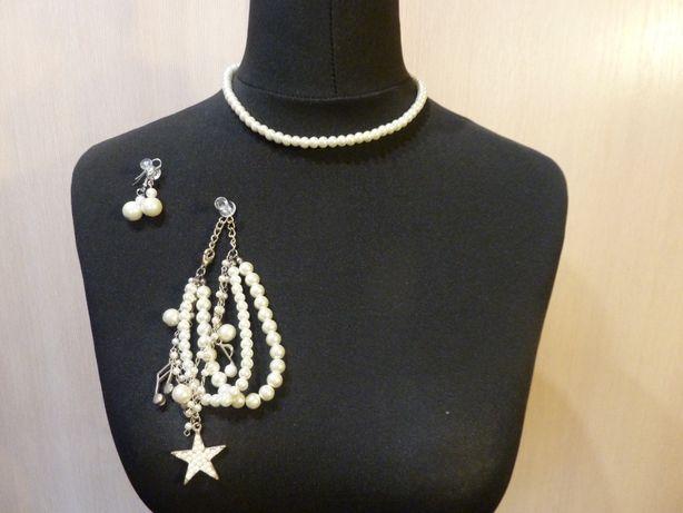 Komplet biżuterii naszyjnik kolczyki bransoletka perły