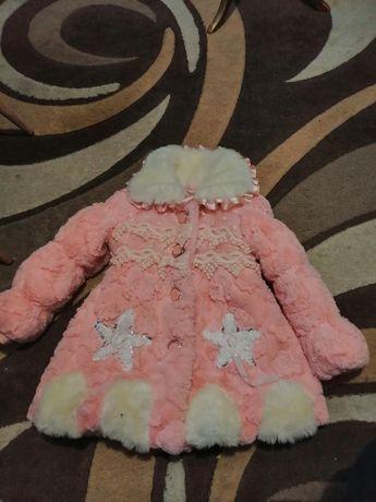Elegancki bardzo ciepły płaszczyk dla dziewczynki 3/ 4 lata