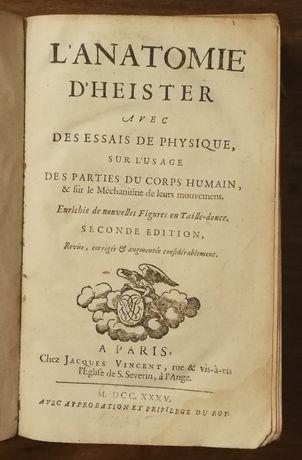 l`anatomie d`heister avec des essais de physique, paris 1735