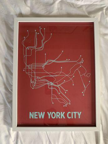 Poster Metro de Nova Iorque emoldurado