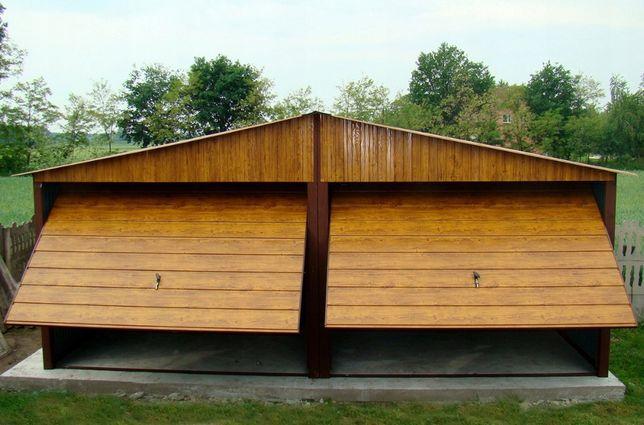 Garaz 6x5 Orzech zloty dab Poziom drewnopodobny garaze blaszaki 6x6