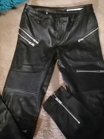 Spodnie Czarne Zara Biker Róż 38 Stan idealny Jak nowe