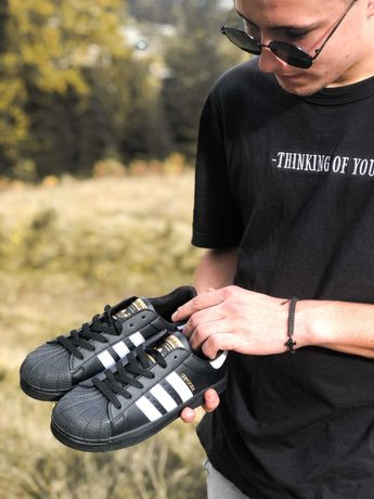 Кроссовки белые черные Adidas Superstar White Адідас Суперстар