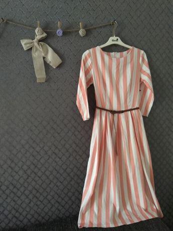 Плаття в полоску, персикового кольору. Розмір s,підійде і на m.