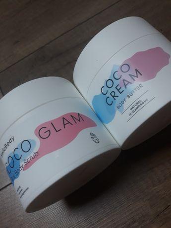 Masło do ciała COCO CREAM oraz różowy scrub do ciała COCO GLAM