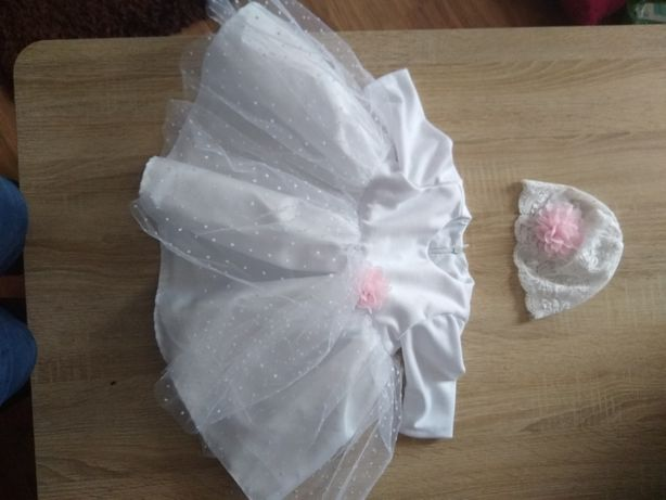 Sukienka do chrztu + czapeczka