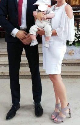 Biała sukienka orsay z pelerynką L