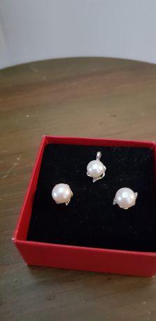 Kolczyki komplet Srebrny z białą perłą