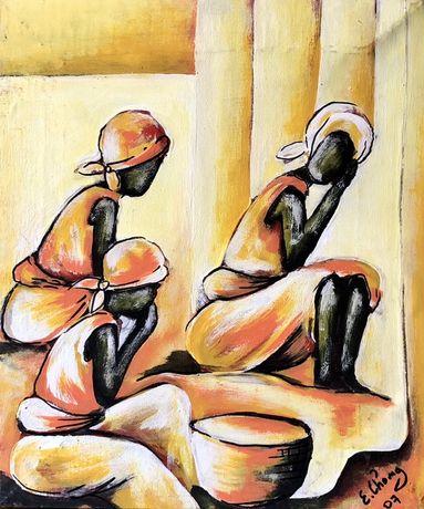 Quadro Tela E. Chong Original Datado 2007 Motivo Conversa Africana