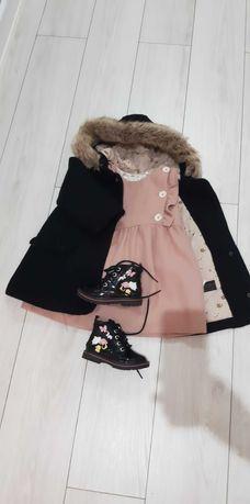 Zestaw na zime , płaszcz,  buty, sukienka zara 92