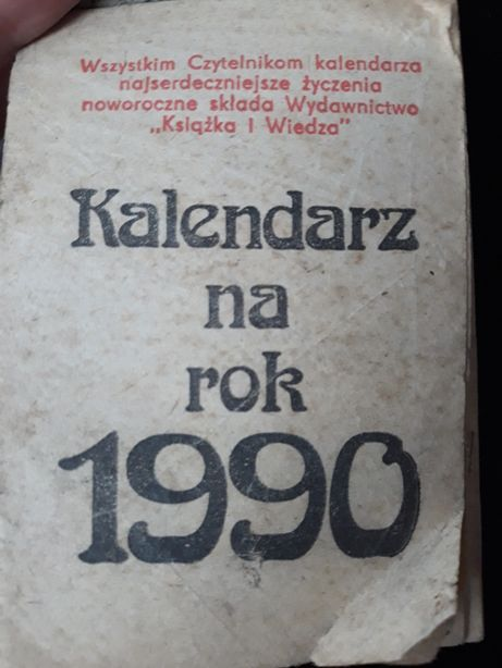 Pomysł na 30-tkę. Prezent na 30-stke.Kartki z kalendarza z 1990 roku