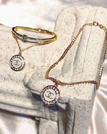 Chanel vintage naszyjnik bransoletka komplet biżuteria pozłacana