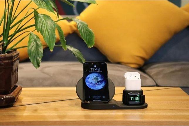 Беспроводная зарядка 3 в 1 iPhone, AirPods, AppleWatch